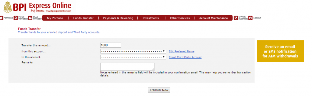 BPI Transfer Money