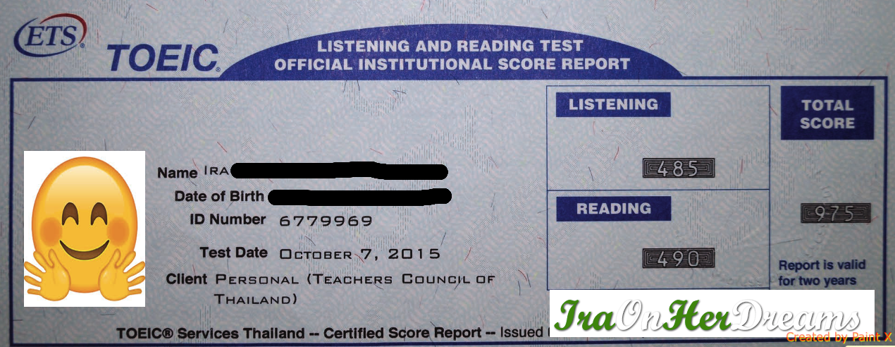 TOEIC test result
