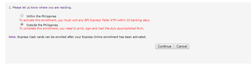 Register in BPI Online Banking